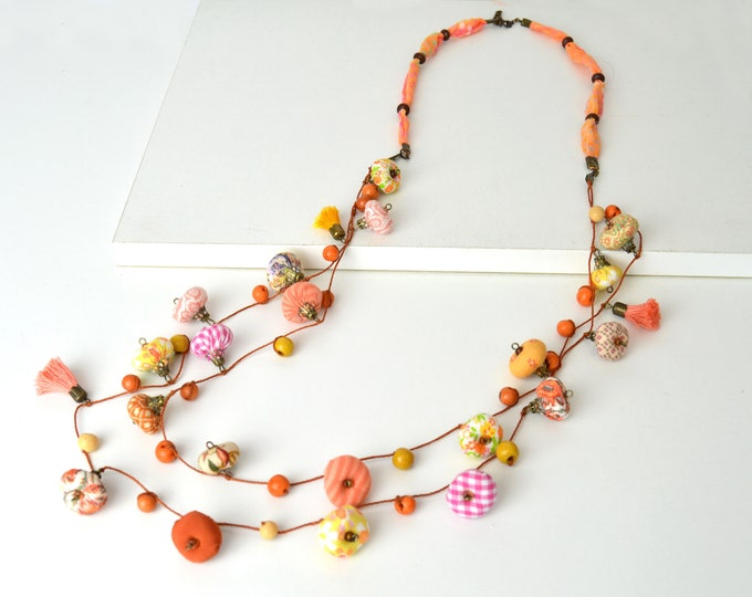 Unique design long necklace, very original design textile jewelry, modern long summer necklace