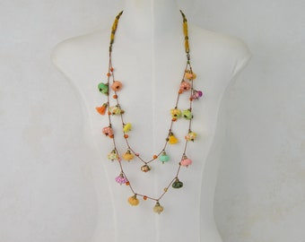 Multicolor Beaded Long Necklace, Multicolor Long Necklace, Multicolored Cloth Necklace, Multicolored Bohemian, Original Crafts, Unique Gifts