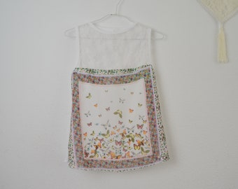 Chiffon and lace top, chiffon and lace romantic print top, original butterflies print lace top, sweet and romantic print top, original top