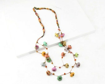 Boho long necklace, handmade jewelry with fulcolor fabric beads, summer trend 2021