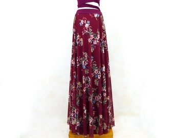 marsala long party skirt, floral print party skirt, winter long party skirt