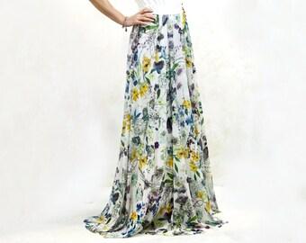Long printed party skirt, soft tulle, original tulle skirt, delicate flower print