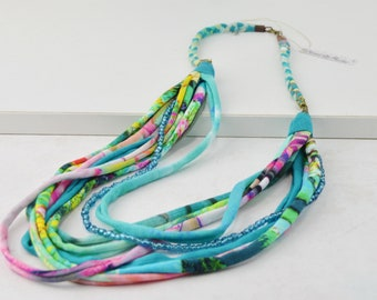 turquoise fabric necklace, aquamarine textile necklace, sky blue fabric necklace, multicolored fabric necklace, original fabric necklace