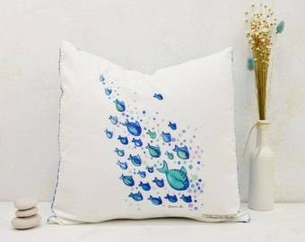 Decorative cushion with fish print, cushion cover printed in watercolor fish, original cushion cover 15,75 * 15,75 inch