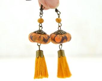 yellow tassel earrings, bohemian yellow tassel earrings, handmade yellow tassel earrings,original yellow tassel earrings
