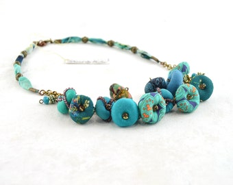 Turquoise bohemian necklace, turquoise handmade necklace, vintage blue necklacelry, Summer Bijoux, Beaded Necklace