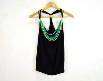 Black jersey top, halter top, boat neck top, viscose blouse, tank top, yoga top, active wear, black halter top with multi-color necklace