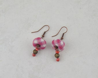 Stamped fabric earrings, fabric earrings, handmade earrings, original earrings, gifts for mom, mother's day gifts.