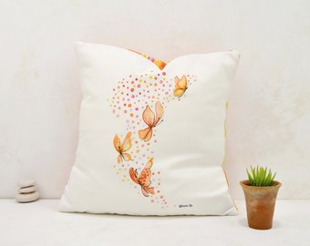 Printed butterfly cushion cover, decorative cushion, printed cushion with watercolors illustration, cushion 15,7 * 15,7 inch