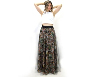 Party skirts, printed party skirt, long tulle party skirt, long printed tulle skirt, long tulle skirt, long tulle skirt