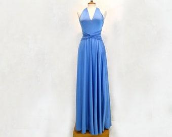 Light blue dress with glitter, soft light blue infinity dress, long bright dress, bright blue dress, light blue formal dresses, blue dress