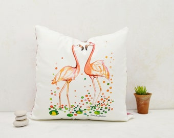 Cactus print cushion, cushion cover printed with watercolor cactus illustration, original 17.75 * 17.75 inch cactus cushion cover