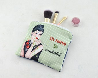 Coin purse, mask case - small cosmetic bag - Audrey Hepburn, bridesmaid gift, best friend gift