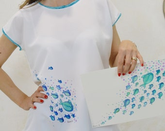 Short sleeve t-shirt with blue fish print, t-shirts with original prints, short sleeve t-shirt for women, designer t-shirt.