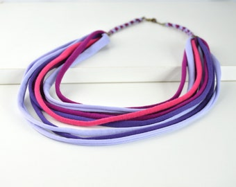Ethnic style fabric necklace with fulcolor strings, handmade textile jewelry, exclusive design jewelry Daniela Barbieri
