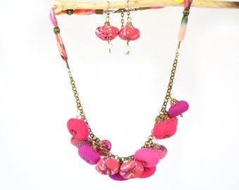 Set of necklace plus fuchsia pink fabric earrings, bohemian necklace and earrings, full color designer jewelry set
