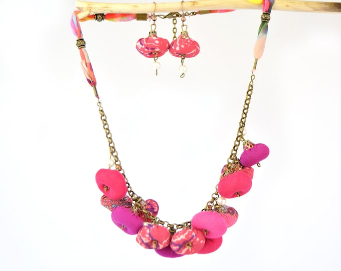 Featured listing image: Set of necklace plus fuchsia pink fabric earrings, bohemian necklace and earrings, full color designer jewelry set