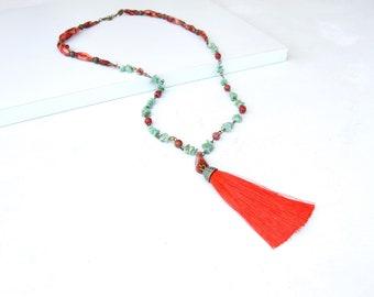 Boho Red Tassel Long Necklace Bohemian Long Beaded Necklace Daniela Barbieri Designer Handmade Jewelry