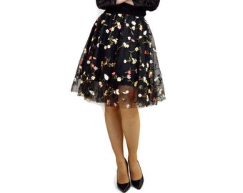 Black tulle skirt with flower embroidery, black tulle skirt, black embroidered tulle party skirt