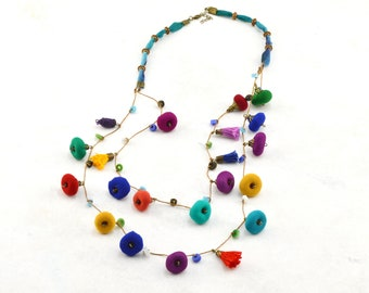 Long necklace of colored beads, long multicolored handmade necklace of textile beads, exclusive design jewelry Daniela Barbieri