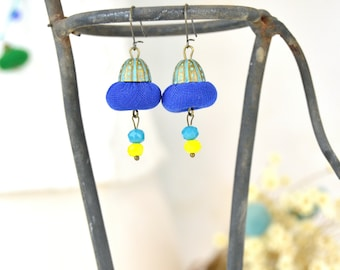 Blue and yellow lime earring, handmade fashion earring, trendy jewelry, 2020 jewelry, handmade fashion jewelry