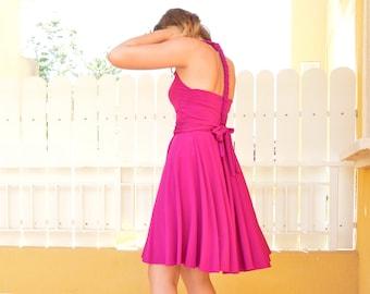 Daniela Barbieri fuchsia pink multiposition short party dress