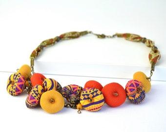 Collar de tela, collar étnico, collar de estilo africano color naranja, bisutería textil estilo etnico