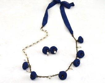 vintage navy textile jewelry set