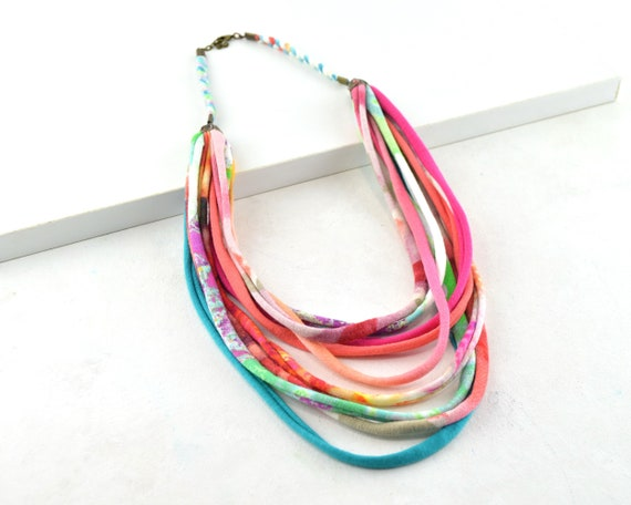 African style necklace, bohemian fabric necklace, full color bohochic necklace, gifts for mom
