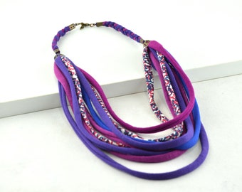 Multicolored ethnic necklace, blue fabric necklace, full color textile necklace, recycled fabric necklace, modern costume jewelry