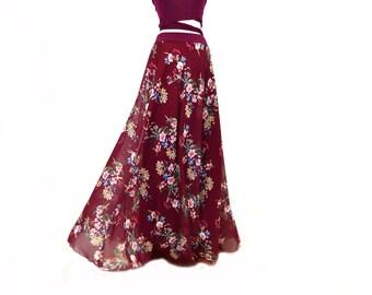 Long party skirt, marsala long chiffon skirt, floral print long skirt, long chiffon skirt, long skirt
