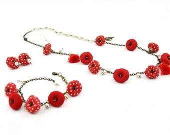 Bohemian cloth jewelry set, vintage style cloth jewelry set, multicolor jewelry set