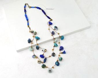 collar largo bohemio, collar largo azul, collar bohemio, collar de colores