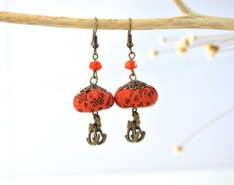 Original handmade earrings, orange design earrings, orange earrings