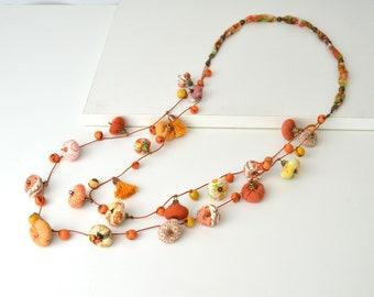 Unique design long necklace, very original design textile jewelry, modern long summer necklace