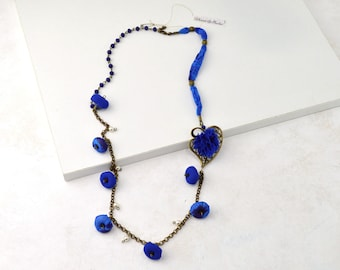 Vintage style blue long necklace, blue fabric bead necklace, Daniela Barbieri handmade jewelry, exclusive handmade gifts