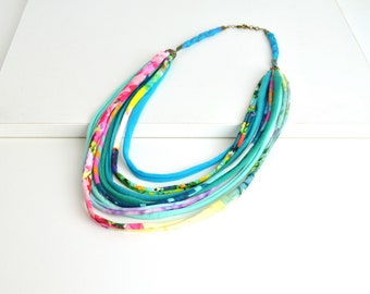 Original handmade multicolored fabric necklace with jersey strings, necklace boho chic,rope necklace handmade jewelry
