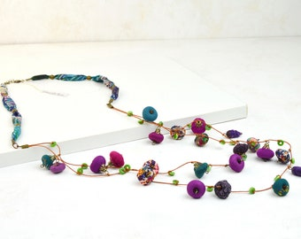 fabric  Long Necklace, full color Long Necklace, Multicolored Cloth Necklace, Multicolored Bohemian, Original Crafts, Unique Gifts