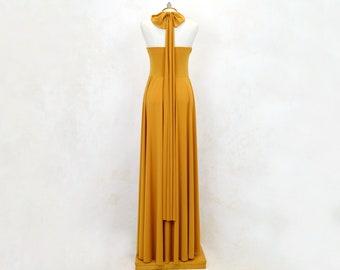 Vestido de fiesta largo multiposición color amarillo mostaza, ropa de fiesta, vestido de diseño Daniela Barbieri