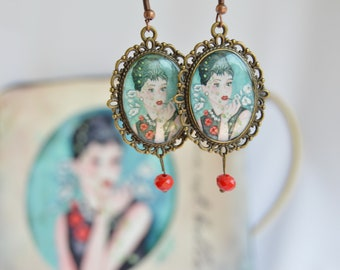 Victorian style cameo earrings, vintage style earrings with original images daniela barbieri hand painted with watercolor, original earrings