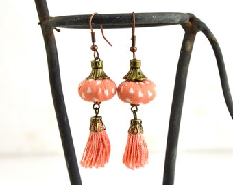 Bohemian turquoise earrings, turquoise handmade earrings, turquoise fabric earrings