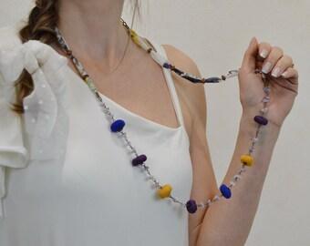 collar largo de verano estilo bohochic, collar de tela estilo bohemio, collar bohemio, collar de moda multicolor