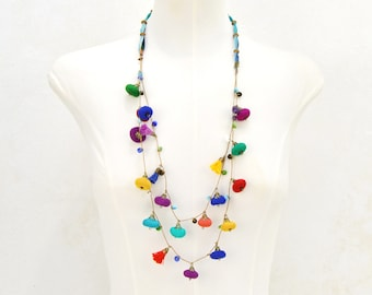 multicolored beads necklace, long multicolored fabric necklace, very colorful recycled fabrics necklace,  boho statement necklace
