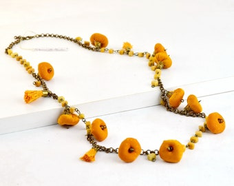 Yellow fabric necklace, yellow handmade necklace, yellow mustard necklace, long textile necklace, yellow textile necklace
