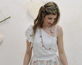 White party top, white asymmetrical bride top, wedding top, pretty asymmetric top, nice party top, party clothes, women's top