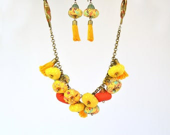 African style fabric necklace, African fabric jewelry set