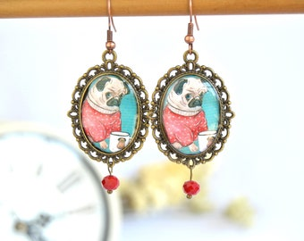 Victorian-style cameo earrings, vintage-style earrings with original images, handcrafted jewelry of exclusive design Daniela Barbieri