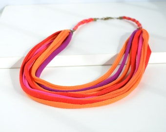 Multicolor fabric necklace, colorful handmade necklace, fabric strip necklace, multicolored fabric strip necklace, statement necklace