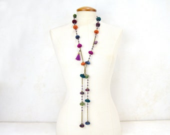 Multicolor Beaded Long Necklace, Multicolored long Necklace, Multicolored Bohemian , open long necklace fullcolor textil daniela barbieri