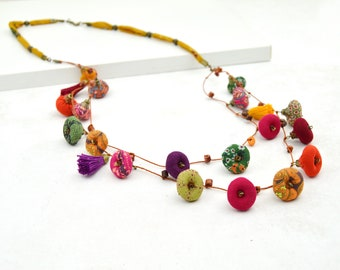 eco-responsible jewelry, colorful fabric bead necklace, handmade long multicolor necklace